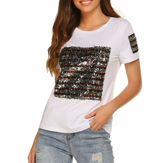 Beetlenew Womens Blouses Women's T-Shirts Fashion Patchwork Sequin Glitter Graphic Tops Summer Casual Personalised Tee Shirts Going Out Clothing Club Party Clothes Short Sleeve O Neck Blouse for Teen Girls White