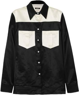Calvin Klein Two-tone Cotton-blend Satin Shirt