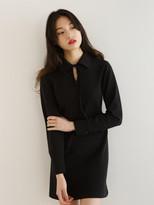 Collar ribbon dress black