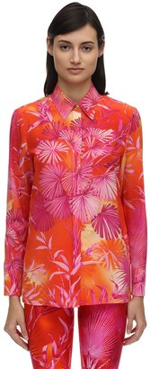 Versace Jungle Print Crepe De Chine Shirt
