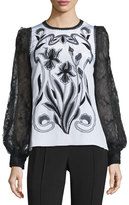 Andrew Gn Floral-Embroidered Lace-Sleeve Blouse, White