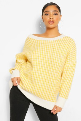 boohoo Plus Oversized Check Knitted Sweater