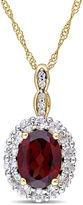 FINE JEWELRY Womens Diamond Accent Red Garnet 14K Gold Pendant Necklace