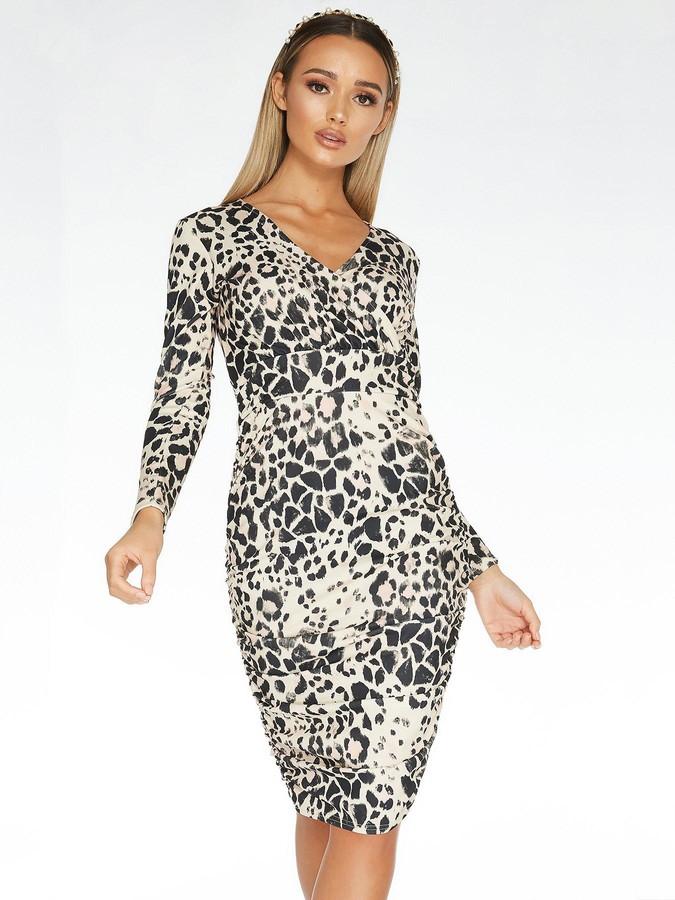 Quiz Scuba Crepe Animal Print Long Sleeve Wrap Ruched Side Midi Dress - Stone