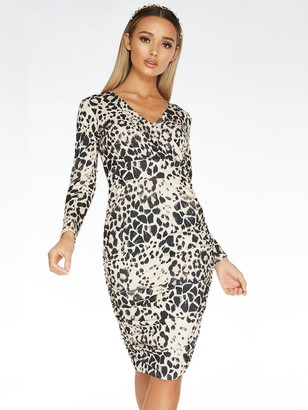 Quiz Scuba Crepe Animal Print Long Sleeve Wrap Ruched Side Midi Dress - Stone