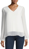 Joan Vass V-Neck Long-Sleeve Chiffon Top