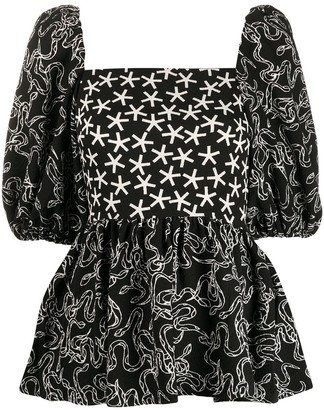 Stine Goya Square Neck Star Print Blouse