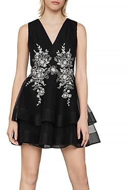 BCBGMAXAZRIA Embroidered Tiered Dress