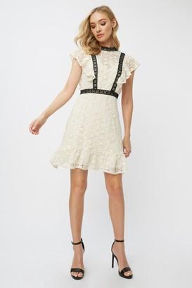 Little Mistress Teigen Cream Crochet Lace Shift Dress