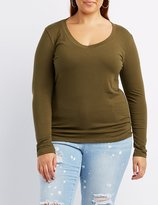 Charlotte Russe Plus Size Long Sleeve V-Neck Tee