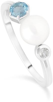 Gemondo Modern Pearl & Topaz Open Ring In 925 Sterling Silver