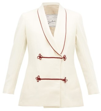 Giuliva Heritage Collection Claudia Frog-button Shawl-collar Wool Jacket - Ivory