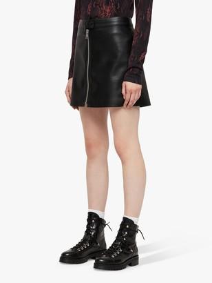 AllSaints Lena Faux Leather Skirt, Black