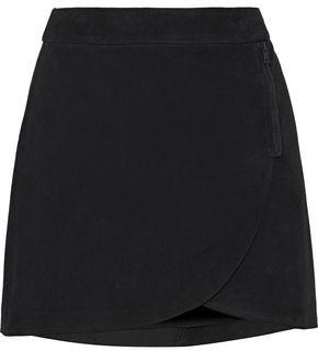 Alice + Olivia Lennon Zip-embellished Suede Mini Skirt