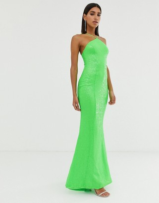 Goddiva backless sequin dress in lime-Green