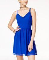 B. Darlin Juniors' Crochet-Trim Fit & Flare Dress