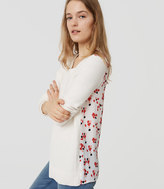 LOFT Floral Back Mixed Media Sweater