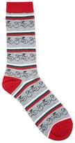 Forever 21 Men Bicycle Stripe Crew Socks