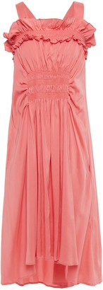 Carven Ruffled Shirred Cotton-poplin Dress
