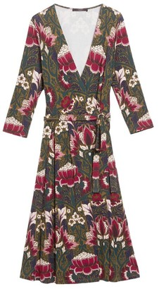 Max Mara Floral Jersey Wrap Dress