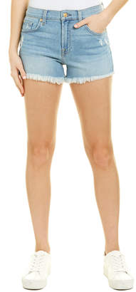 7 For All Mankind Seven 7 High Waist Blue Frayed Short