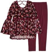 Beautees Long Sleeve Printed Crossback Tunic Legging Set - Girls' 7-16