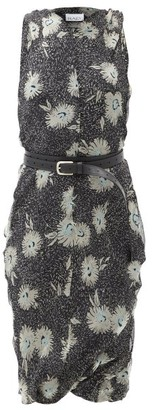 Raey Belted Floral-print Silk-chiffon Dress - Black Print