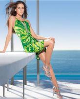 INC International Concepts Petite Dress, Halter Printed Keyhole