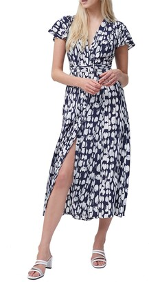 French Connection Islanna Abstract Print Crepe Midi Dress