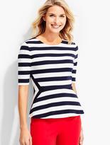 Talbots Morris-Stripes Peplum Top