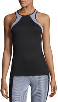 Koral Activewear Diviate Mesh-Panel Racerback Performance Tank, Black/White