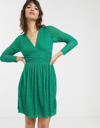 French Connection v-neck pleated spot printed jersey mini dress-Green