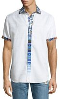 Robert Graham Kerala Mixed-Print Short-Sleeve Sport Shirt, White