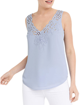 Oasis Scallop Embroidered Vest Top, Light Blue