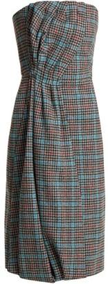 Prada Strapless Houndstooth Wool-blend Dress - Grey Multi