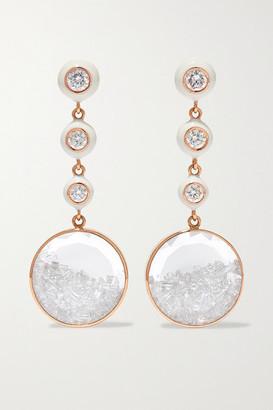Moritz Glik 18-karat Rose Gold, Enamel, Sapphire Crystal And Diamond Earrings