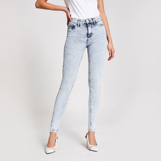River Island Womens Light Blue acid wash Molly mid rise jeggings