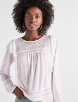 Lucky Brand Ruffle Detail Long Sleeve Blouse