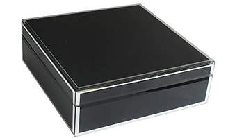 American Atelier 1280009 Square Jewelry Box with Piping, Black