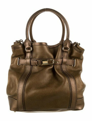 Burberry Golderton Leather Satchel Metallic