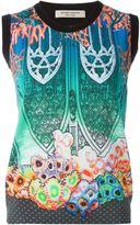 Piccione Piccione Piccione.Piccione - gothic archway reef print contrast trim gilet - women - Silk/Cotton - 40