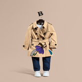 Burberry Cotton Trench Coat with Embroidered Weather Appliqués
