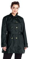 Big Chill Women's Plus-Size Double-Breasted Trench Coat with Belt