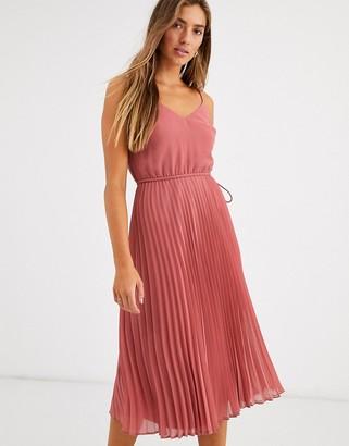 Asos Design DESIGN pleated cami midi dress with drawstring waist-Pink