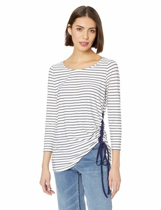 Chaus Women's 3/4 SLV Side Ruched Marina Stripe Top