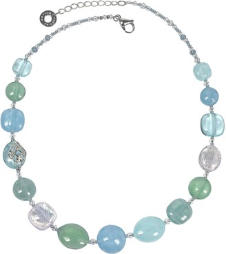 Antica Murrina Veneziana Florinda Light Blue and Green Murano Glass Beads Necklace