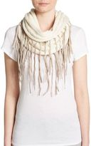 Chan Luu Fringed Cable-Knit Infinity Scarf