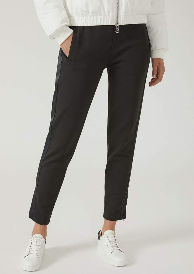 Emporio Armani Trousers With Silky Side Band And Embroidered Ea Logo