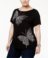 INC International Concepts Plus Size Embellished Butterfly T-Shirt, Only at Macy's
