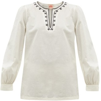 Le Sirenuse Positano Le Sirenuse, Positano - Vera Embroidered Cotton-poplin Blouse - Cream